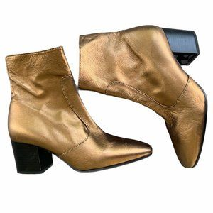Topshop Gold Leather Ankle Boots Heeled 37